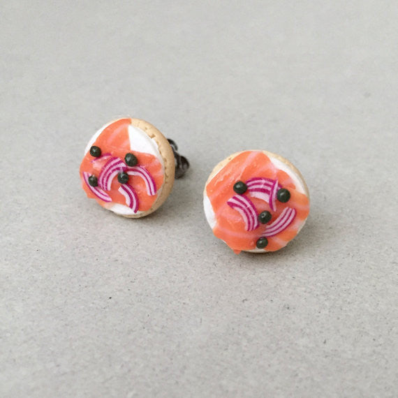 Bagel and Lox Stud Earrings from Sweet Stella - Jewish Gifts, Collectibles and Judaica | Reboot Shop