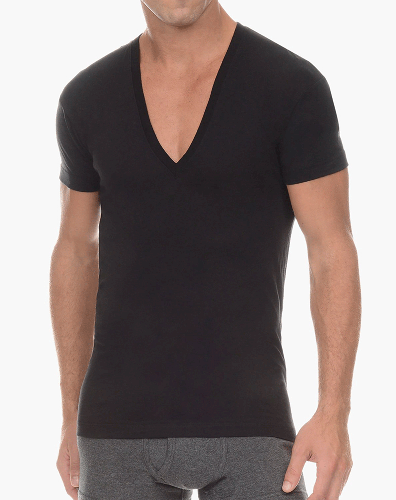 2(X)IST 3104104101 Pima Cotton Slim Fit Deep V-neck T-shirt 00101-black