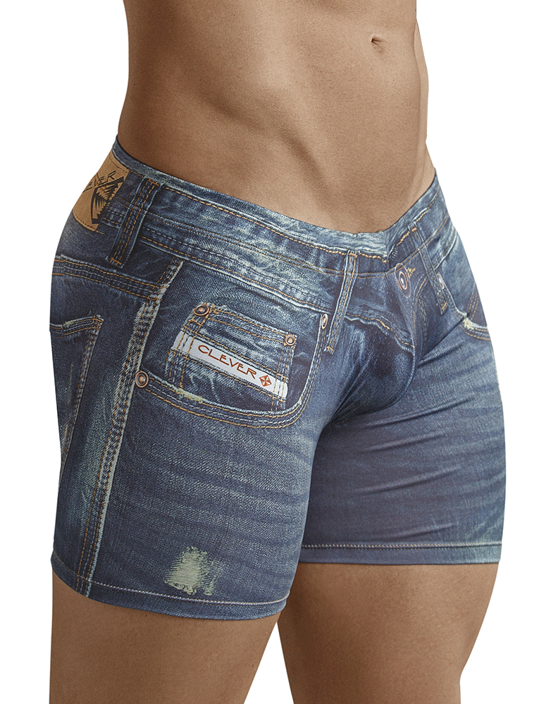 Clever 2201 Microfiber Print Denim Jean Blue Boxer Brief 10