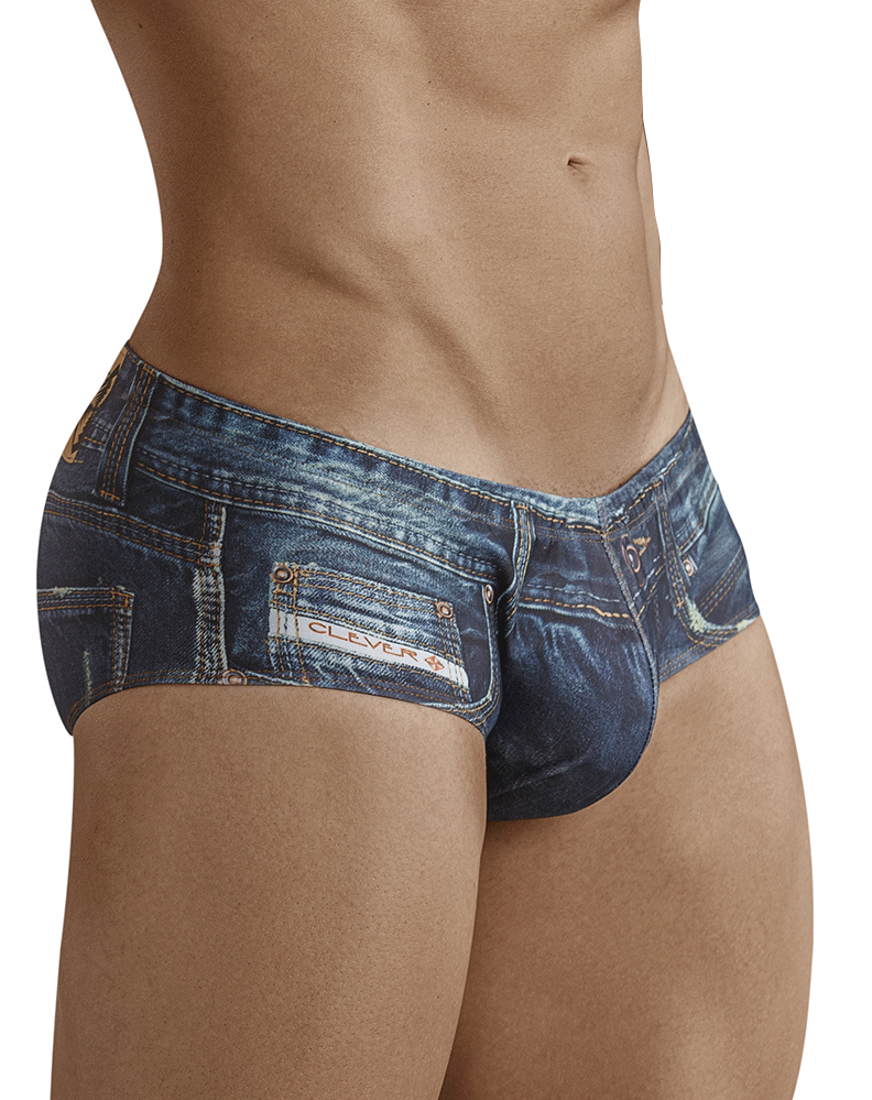 Clever 5201 Brief Microfiber Denim Jean Latin Blue - StevenEven.com
