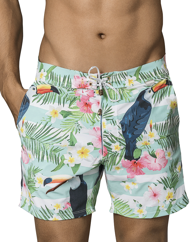 Clever 0666 Flowers Long Swim Trunks Green