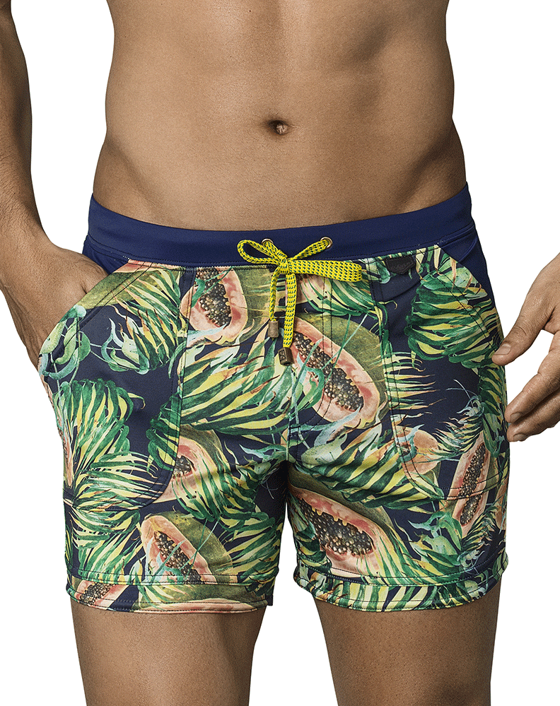 Clever 0660 Papaya Swim Trunks Blue - StevenEven.com