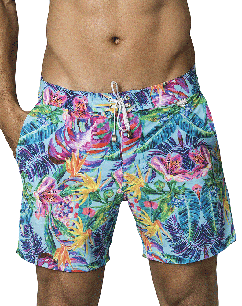 Clever 0665 Sea Plants Long Swim Trunks Blue - StevenEven.com