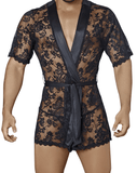 Candyman 99322 Lace Kimono With Thong Black - StevenEven.com