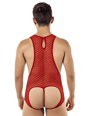 Candyman 99409 Harness Bodysuit Red