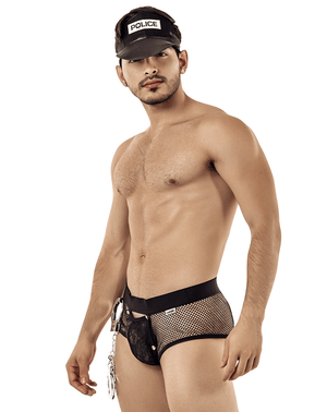 Candyman 99414 Police Man Costume Outfit Briefs Black