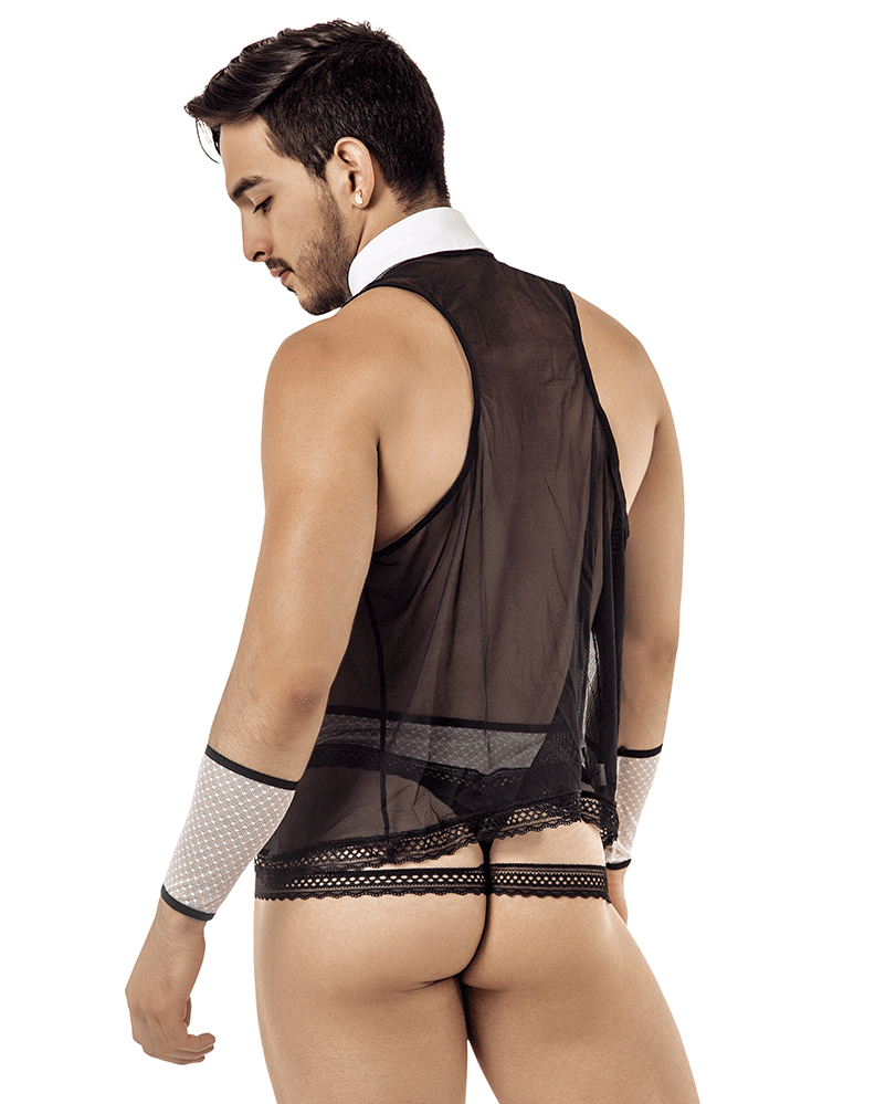 Candyman 99426 Barman Costume Outfit Thongs Black