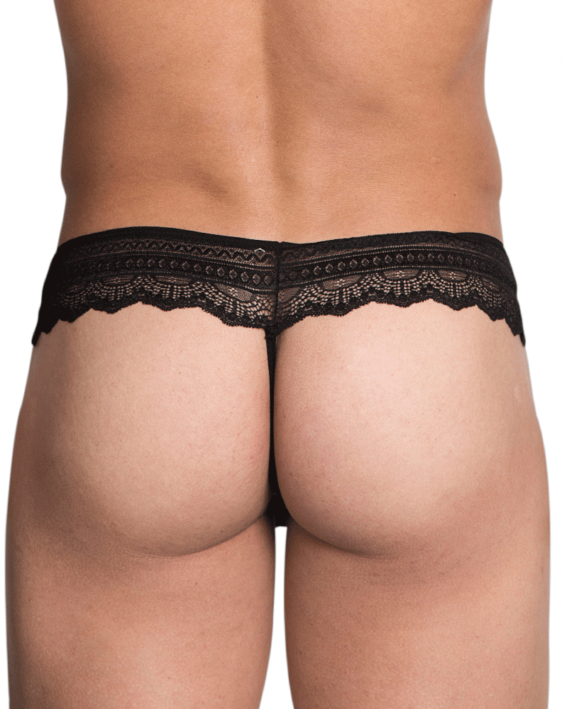 Hidden 973 Lace Thongs Black