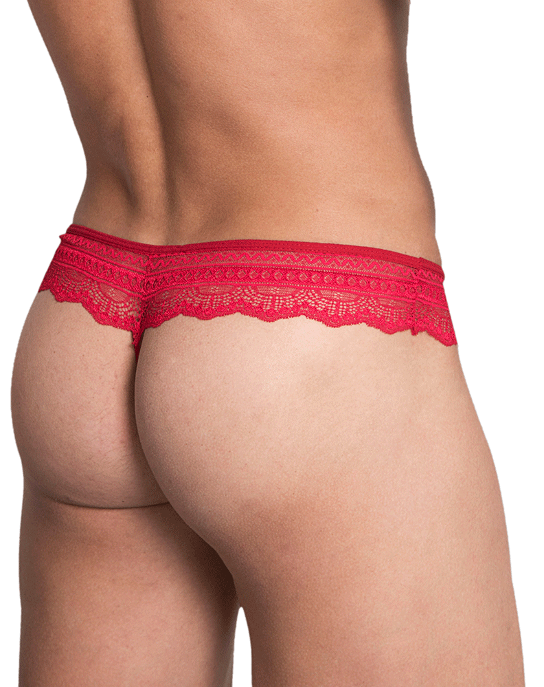 Hidden 973 Lace Thongs Red