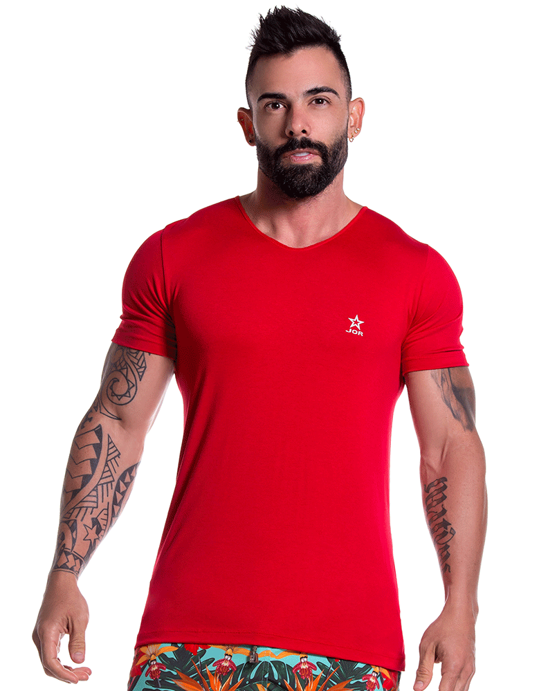 Jor 0803 Bassic T-shirt Red