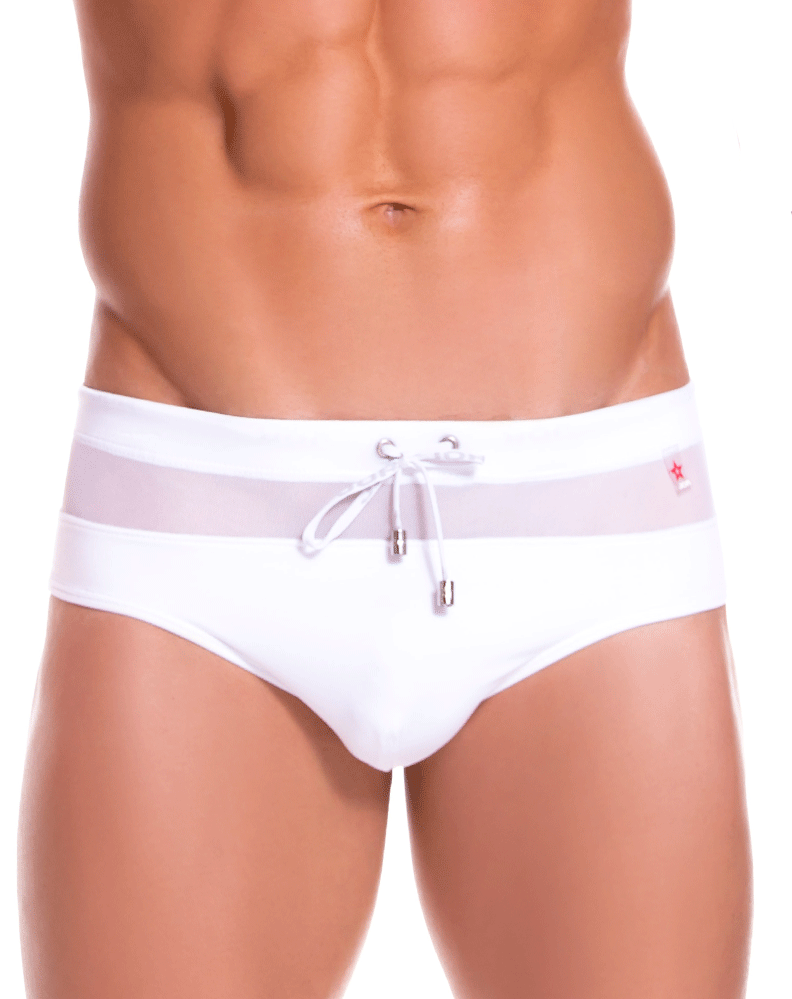 Jor 0889 Mesh Swim Trunks White - StevenEven.com