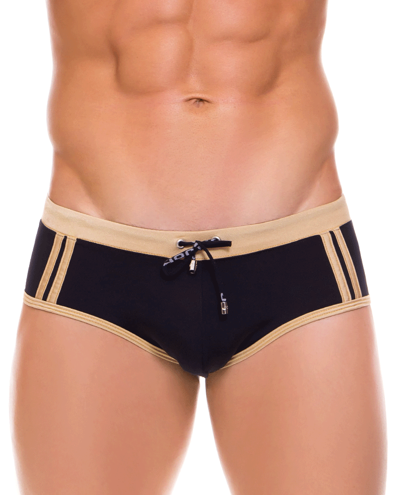 Jor 0087 Racing Stripes Swim Brief Gold