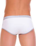 Jor 0087 Racing Stripes Swim Brief Silver