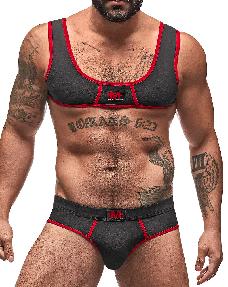 Male Power 100-052 Cotton Spandex Mini Tank Bikini Set Black-red - StevenEven.com