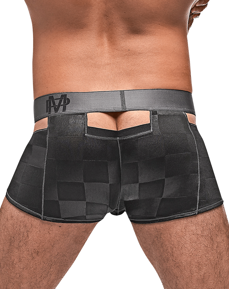 Male Power 124-251 Checked Mate Cutout Short Black