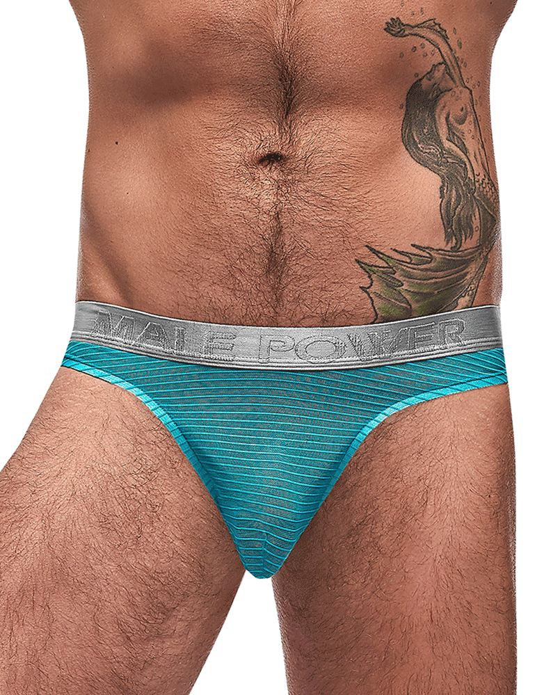 Male Power 442-252 Mesh Rib Bong Thongs Seafoam