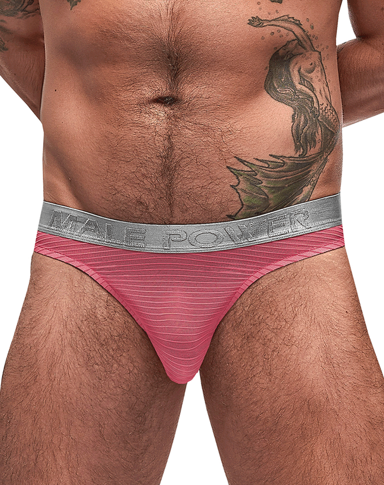 Male Power 442-252 Mesh Rib Bong Thongs Salmon - StevenEven.com