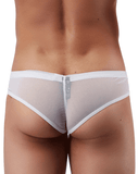 Male Power Pak883 Euro Male Mesh Shirred Pouch Manty Briefs White - StevenEven.com