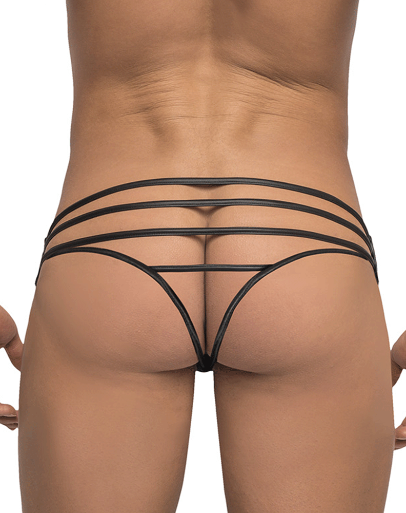 Male Power 419238 Strapped And Bound Strappy Thong Black