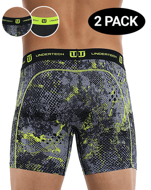 Undertech 347735sh-967 2pk Printed And Solid Boxer Briefs Camo-black