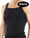 Papi 559102-001 3pk Square Neck Tank Black - StevenEven.com