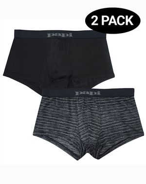 Papi 626183-962 Cool2 2pk Solid-print Brazilian Trunks Black-gray