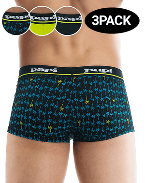 Papi 980601-967 3pk Palm Print And Solid Brazilian Trunks Black-green-printed