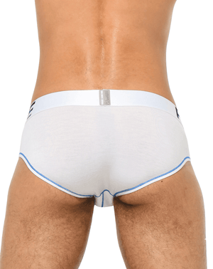 Private Structure Ptuz3791 Platinum Tencel Mini Brief White-blue