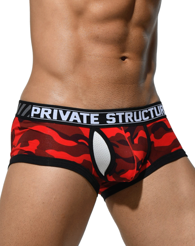 Private Structure Scuz3781 Soho Camouflage Mesh-fly Trunk Red Camo - StevenEven.com