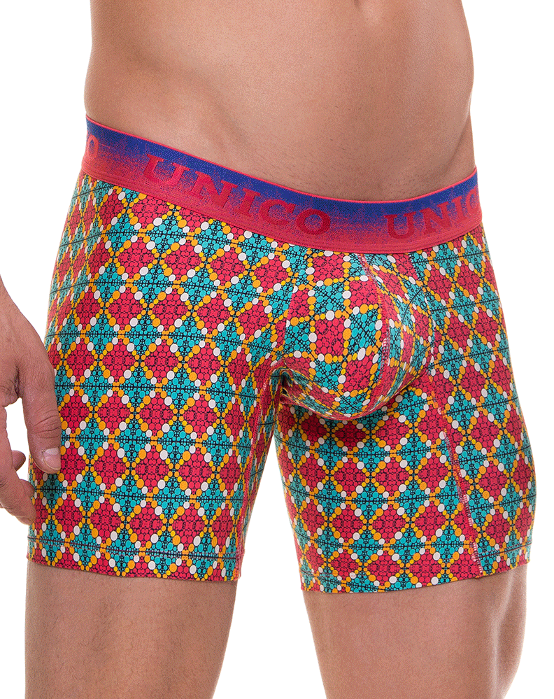 "UNICO 1740093866 Boxer Briefs Celebration Microfiber 10"" Multi-colored"