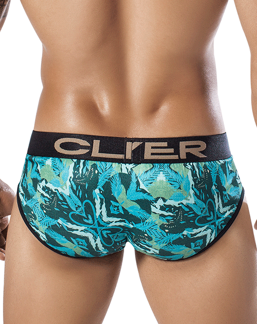 CLEVER 5258 Natural Snake Piping Brief Green - Steveneven.com