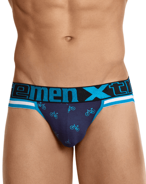 Xtremen 91045 Cycling Print Jockstrap Dark Blue