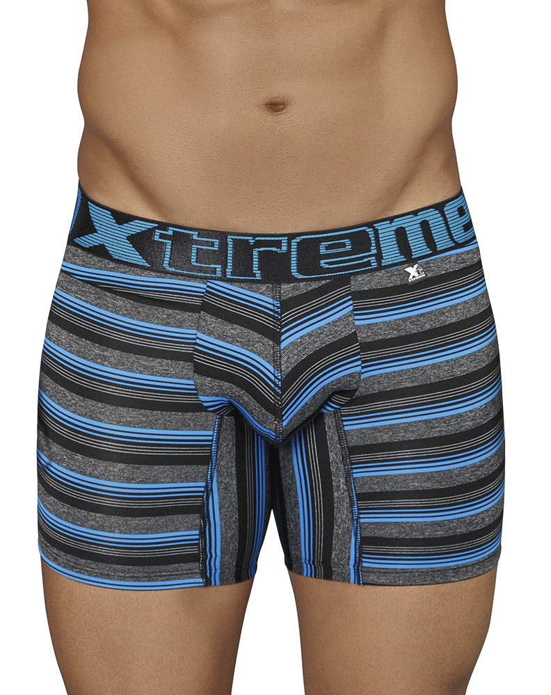 Xtremen 51415 Boxer Briefs Microfiber Stripes Black - StevenEven.com