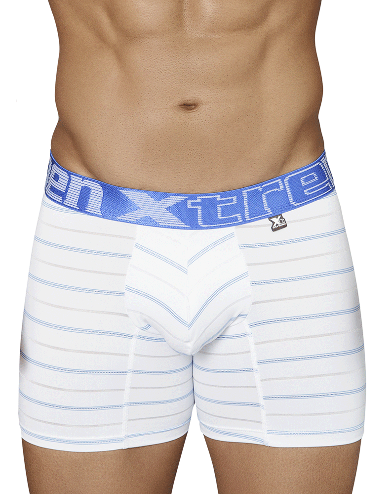 Xtremen 51417 Boxer Briefs Microfiber Stripes White