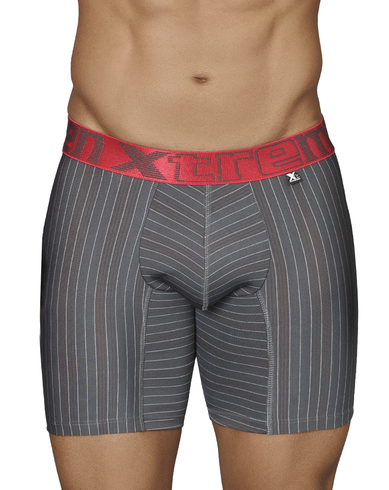 Xtremen 51419 Boxer Briefs Microfiber Stripes Gray - StevenEven.com
