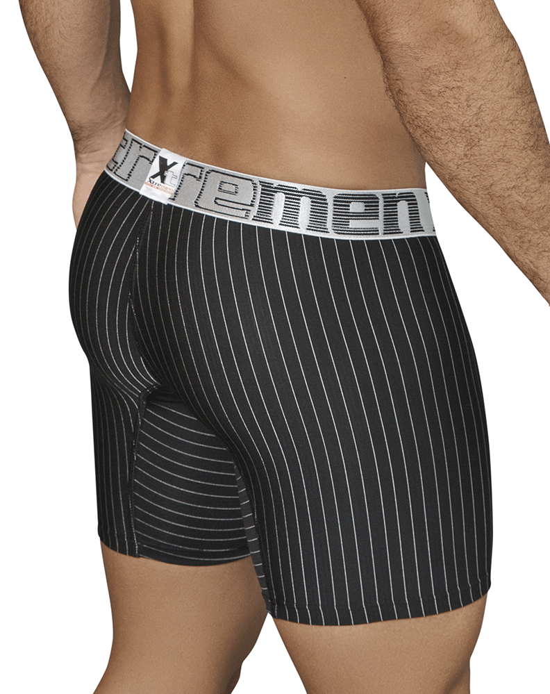 Xtremen 51419 Boxer Briefs Microfiber Stripes Black - StevenEven.com