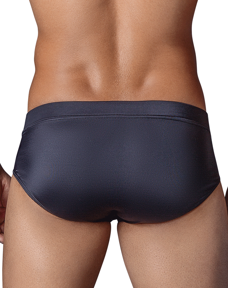 CLEVER 0637 Zipper Swimsuit Brief Black
