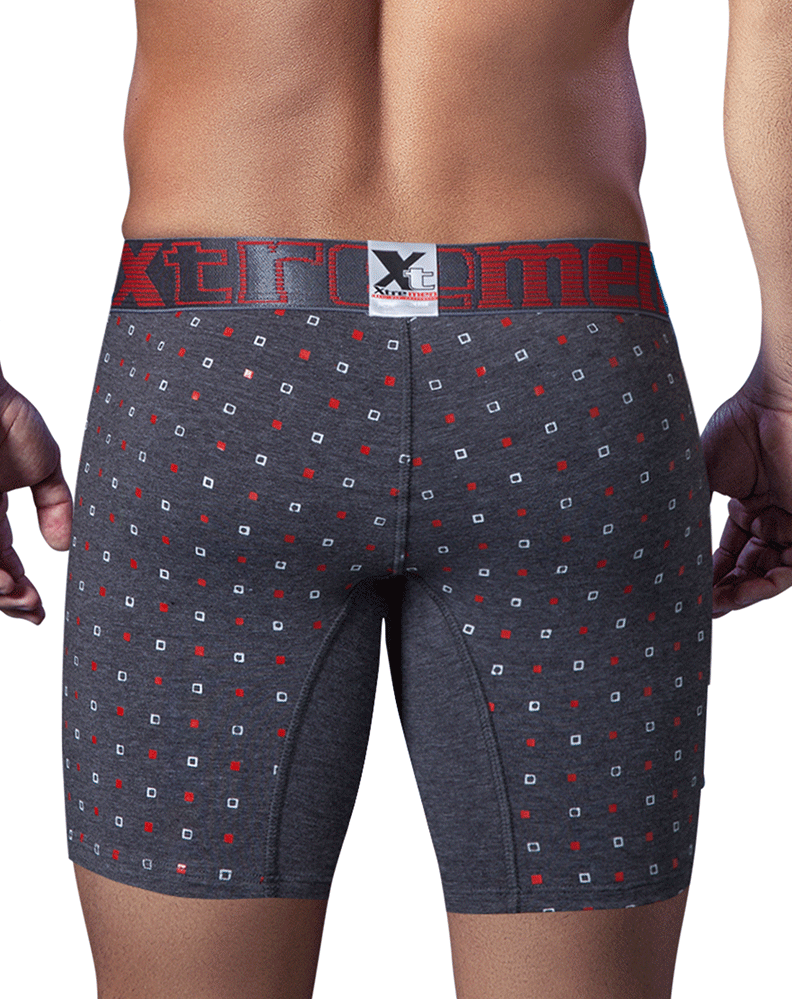 XTREMEN 51413 Cotton Printed Boxer Briefs Gray