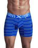 XTREMEN 51396 Microfiber Stripes Boxer Briefs Blue - Steveneven.com