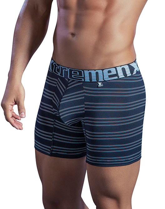 XTREMEN 51397 Microfiber Stripes Boxer Briefs Black - Steveneven.com