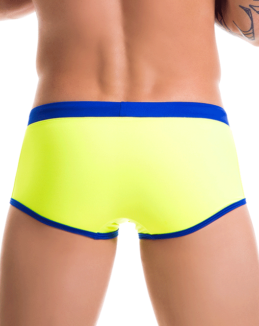 JOR 0086 Racing Stripes Swim Trunk Yellow-Blue - Steveneven.com