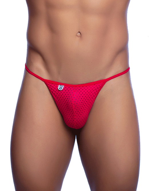 MALE BASICS MBL06 Micro-Fiber V-String Thong Red - Steveneven.com