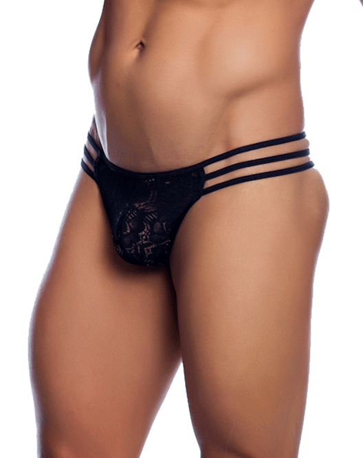 MALE BASICS MBL10 Triple Lace String Thong Black - Steveneven.com