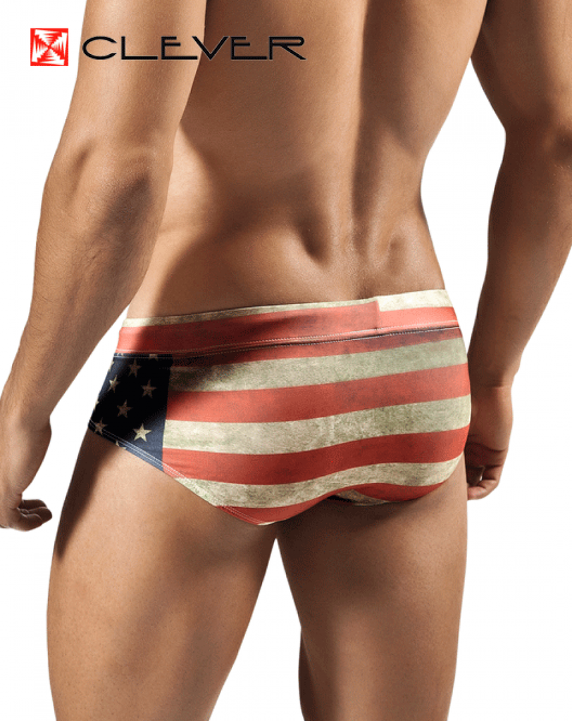 CLEVER 0560 Flag Swimsuit Brief Red - Steveneven.com