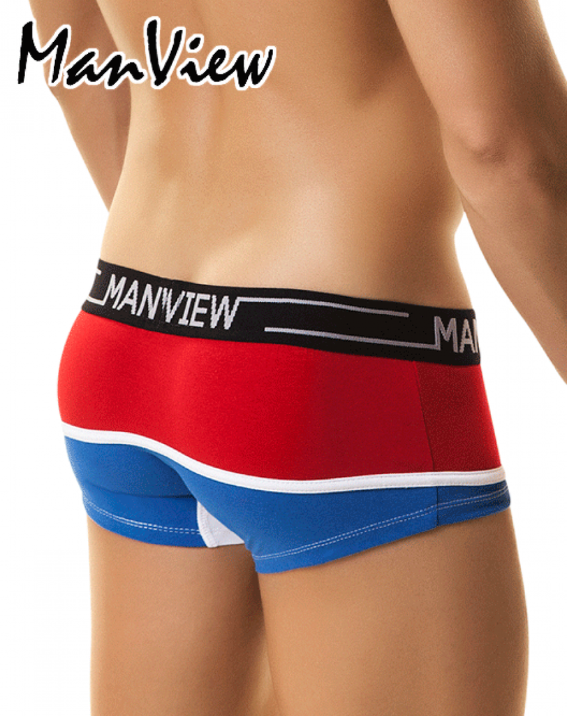 "MANVIEW MV4002 Boxer/Trunk Campus City Boy 5"" Red/Blue - Steveneven.com"