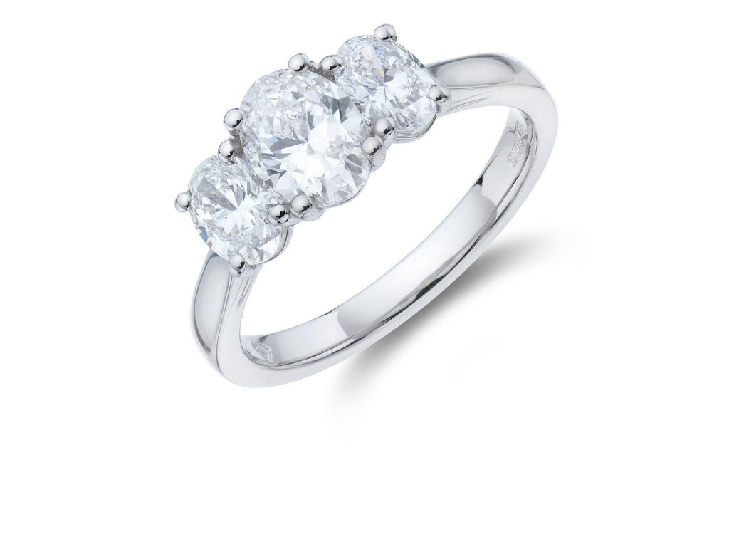 Platinum 3 Stone Oval Cut Diamond Ring