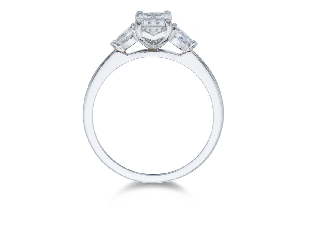 Platinum 3 Stone Radiant and Pear Cut Diamond Ring