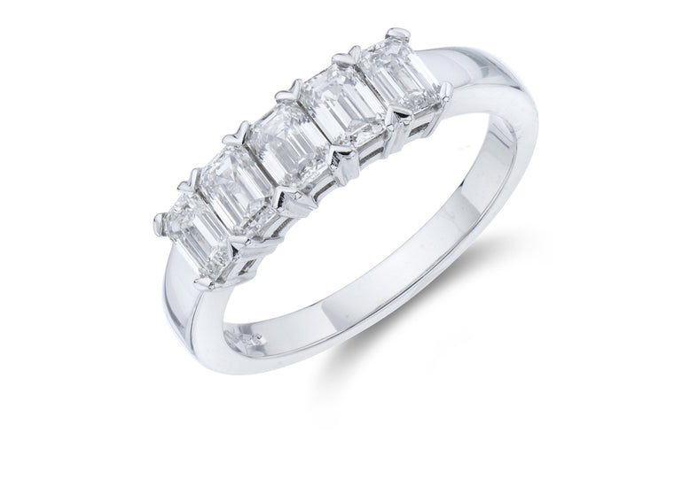 Platinum 5 Stone Emerald Cut Diamond Ring