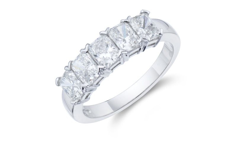Platinum 5 Stone Radiant Cut Diamond Ring