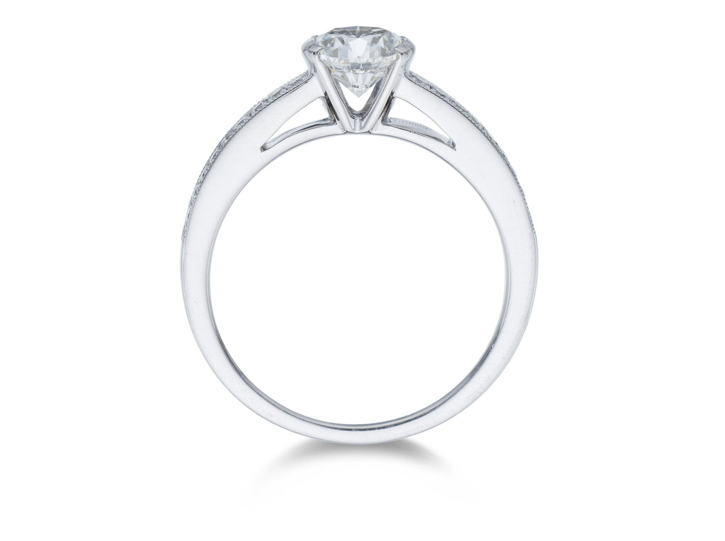 Platinum Diamond Solitaire Rub-over Style Ring